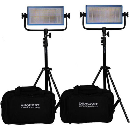 Dracast LED500 Pro Bi-Color LED 2-Light Kit with V-Mount Battery Plates and Stands