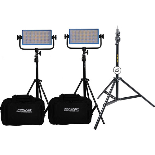 Dracast LED500 Pro Bi-Color LED 2-Light Kit with V-Mount Battery Plates and Stands