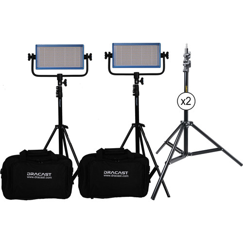 Dracast LED500 Pro Daylight LED 2-Light Kit with Gold Mount Battery Plates and Stands