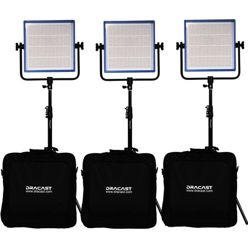 Dracast LED1000 Pro Bi-Color LED 3-Light Kit with Gold Mount Battery Plates and Stands