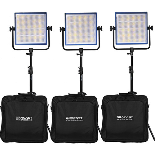 Dracast LED1000 Pro Daylight LED 3-Light Kit with Gold Mount Battery Plates and Stands