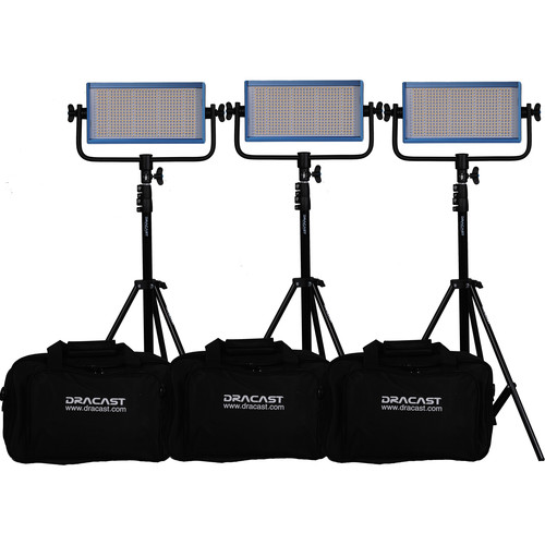 Dracast LED500 Pro Bi-Color LED 3-Light Kit with Gold Mount Battery Plates and Stands