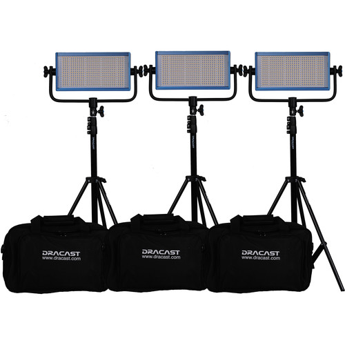 Dracast LED500 Pro Daylight LED 3-Light Kit with Gold Mount Battery Plates and Stands