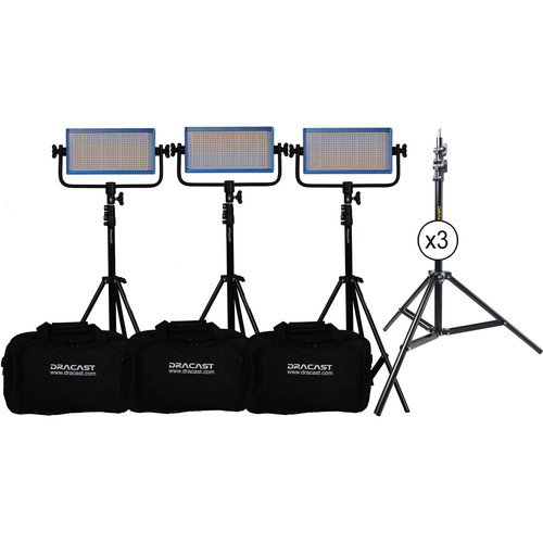 Dracast LED500 Pro Daylight LED 3-Light Kit with V-Mount Battery Plates and Stands