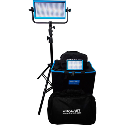 Dracast Outdoor Daylight Kit with 1-LED500B and 1- LED160AB, Stands, Umbrellas and Gold Mount Battery Plate