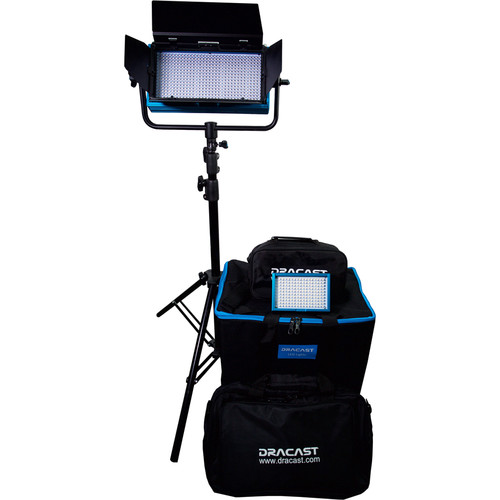 Dracast Outdoor Deluxe Bi-Color AC/DC Kit with 1-LED500B / 1- LED160AB, Batteries and V-Mount Battery Plate