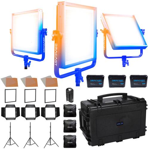 Dracast LED1000 Pro Bi-Color 3-Light Studio Kit with Gold Mount Battery Plates