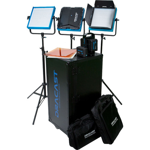 Dracast LED1000 Pro Bi-Color 3-Light Studio Kit with Gold Mount Battery Plates