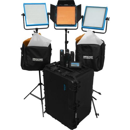 Dracast LED1000 Pro Tungsten 3-Light Studio Kit with V-Mount Battery Plates