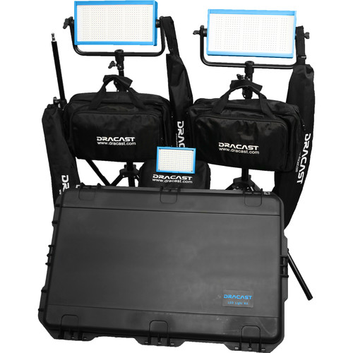Dracast Daylight Wedding Kit with 1 x LED160AD and 2 x LED500D Pro Lights with Gold Mount Battery Plates