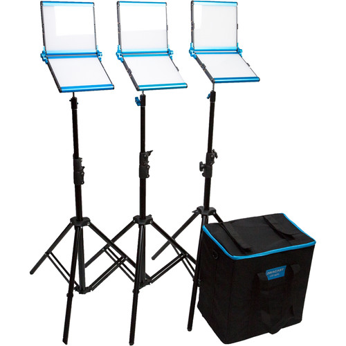 Dracast Silver Series LED1000 Daylight Foldable 3-Light Kit with Soft Case