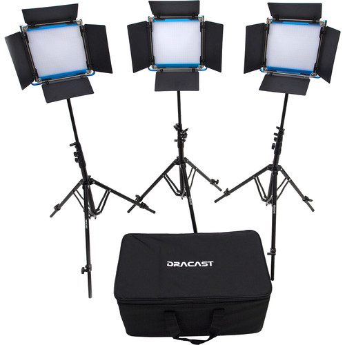 Dracast LED500 S-Series Daylight 3-Light Kit with V-Mount Battery Plates and Soft Case