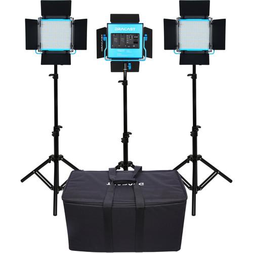 Dracast S-Series LED500 Plus Daylight LED 3-Light Kit with NP-F Battery Plates