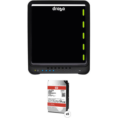 Drobo 5C 50TB 5-Bay USB 3.1 Gen 1 Type-C Enclosure Kit with WD NAS Drives (5 x 10TB)