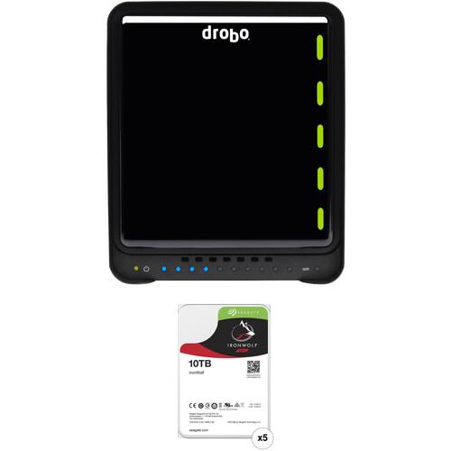 Drobo 5D3 50TB 5-Bay Thunderbolt 3 Enclosure Kit with Seagate NAS Drives (5 x 10TB)