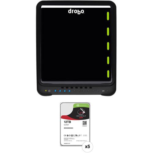 """Drobo 5N2 5-Bay NAS Enclosure & 12TB IronWolf 3.5"""" HDD Kit"""