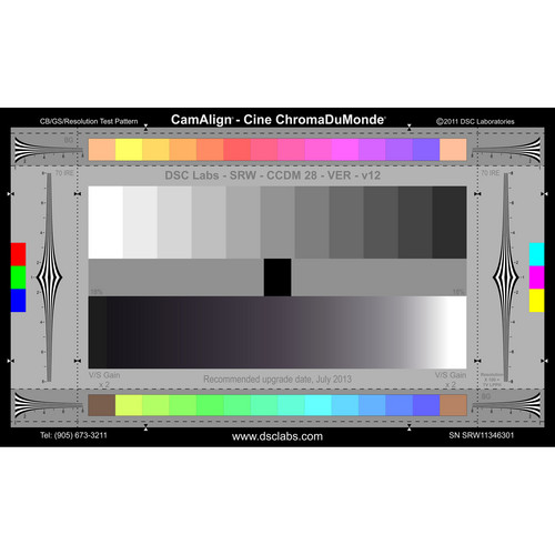 DSC Labs The Cine-ChromaDuMonde (SRW) Camera Test Chart