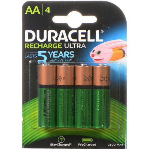 Duracell Rechargeable Long Life Ion Core AA NiMH Batteries (2500mAh, 4-Pack)