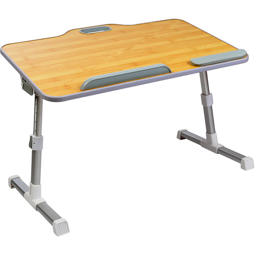 Dyconn Portable Laptop Table with Handle (Bamboo, Height Adjustable)