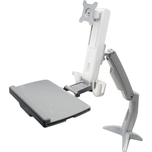 Dyconn Desk-Mounted Sit/Stand Workstation Mount with Foldable Keyboard Tray and Retractable Mouse Tray
