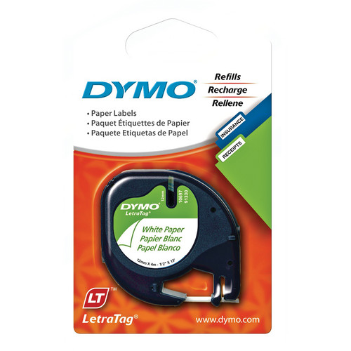 """Dymo 2-Pack Paper LetraTag Label Cassette (Black on White, 1/2"""" x 13')"""