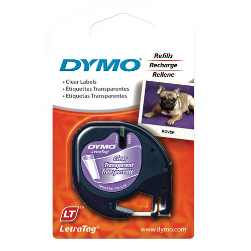 "Dymo Plastic LetraTag Tape (Black on Clear, 1/2"" x 13')"