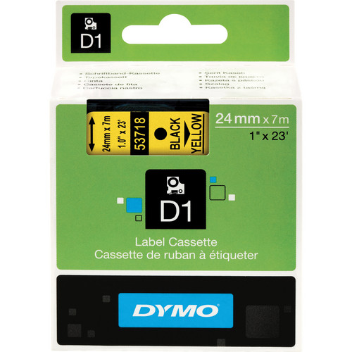 "Dymo Standard D1 Tape (Black on Yellow, 1.0"" x 23')"