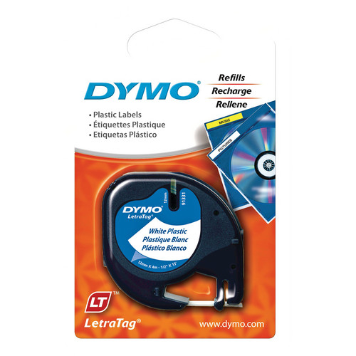 "Dymo Plastic LetraTag Tape (Black on White, 1/2"" x 13')"
