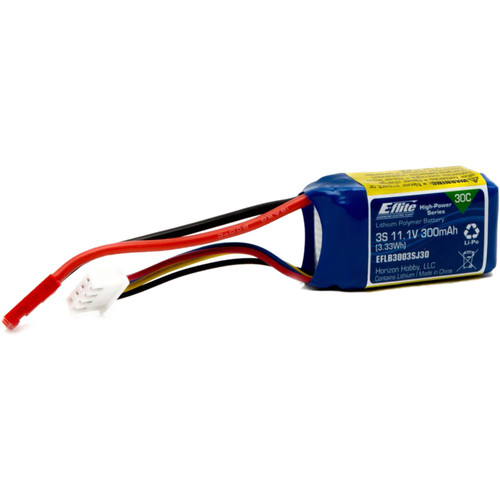 E-flite 300mAh 3S 11.1V 30C LiPo Battery with JST Connector