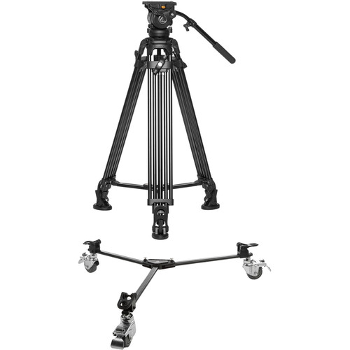 E-Image EG05A2 Two-Stage Aluminum Tripod System with Lightweight Dolly Kit