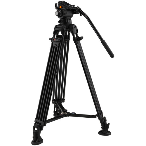 E-Image Two-Stage Aluminum Tripod with GH03 Head & Tripod Dolly Kit (75mm)