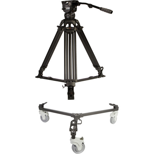 E-Image Two-Stage Aluminum Tripod with GH15 Head & Tripod Dolly Kit (100mm)