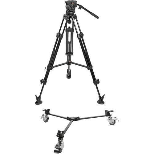 E-Image Two-Stage Aluminum Tripod with EH60 Head & Tripod Dolly Kit (75mm)