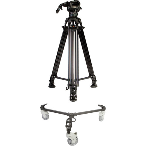 E-Image Two-Stage Aluminum Tripod with GH10 Head & Tripod Dolly Kit (75mm)