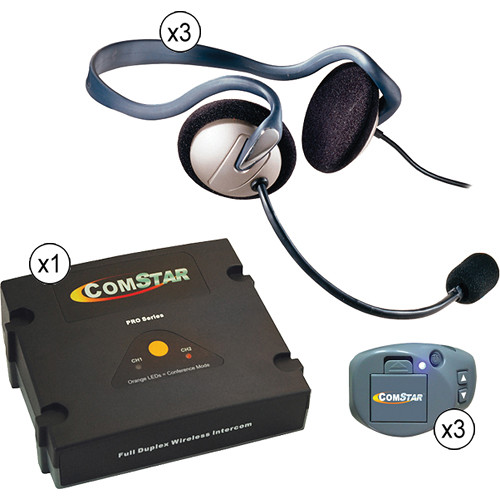 Eartec Comstar XT Full Duplex Wireless System with Monarch Headsets (3 User)