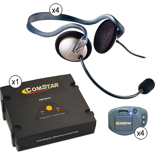 Eartec Comstar XT Full Duplex Wireless System with Monarch Headsets (4 User)