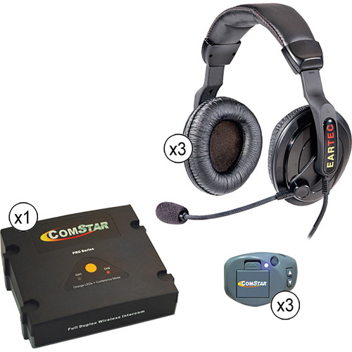 Eartec Comstar XT Full Duplex Wireless System with ProLine Double Headsets (3 User)