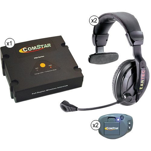 Eartec ComStar XT Full Duplex Wireless System with ProLine Single Headsets (2 User)