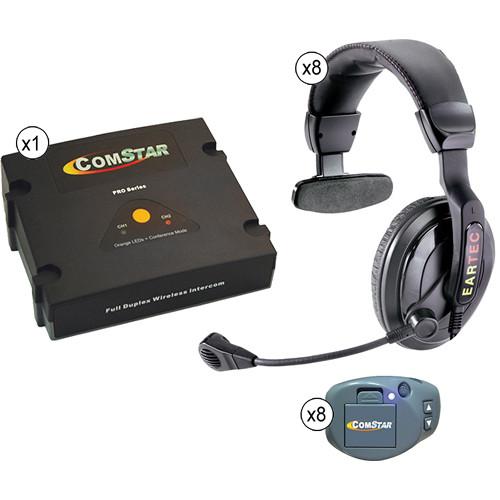 Eartec ComStar XT Full Duplex Wireless System with ProLine Single Headsets (8 User)