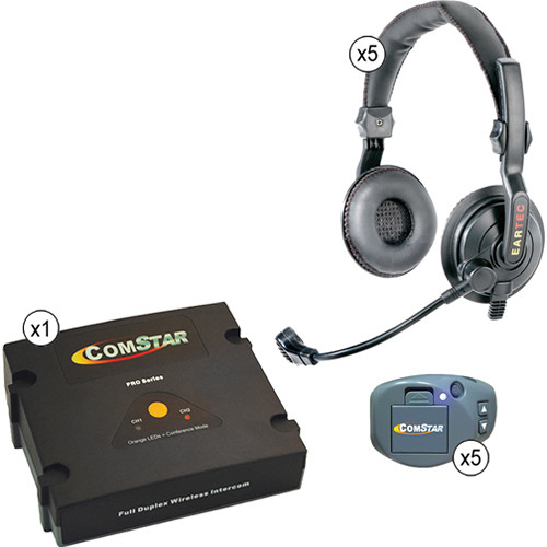 Eartec ComStar XT Full Duplex Wireless System with Slimline Double Headsets (5 User)