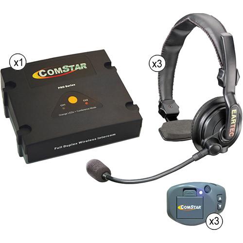 Eartec ComStar XT Full Duplex Wireless System with Slimline Single Headsets (3 User)