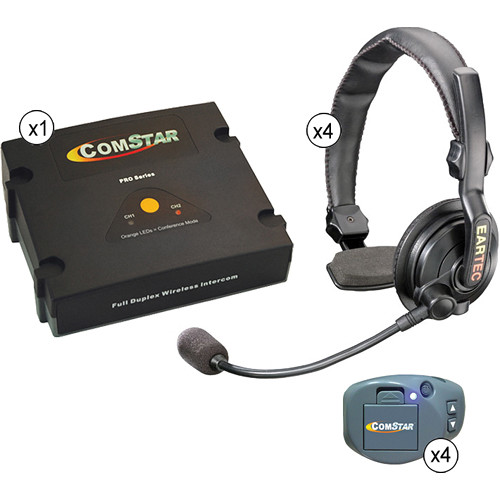 Eartec ComStar XT Full Duplex Wireless System with Slimline Single Headsets (4 User)