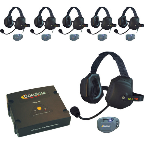 Eartec ComStar Com-Center Intercom with 6 Belt-Pack & 6 Xtreme Headset Kit