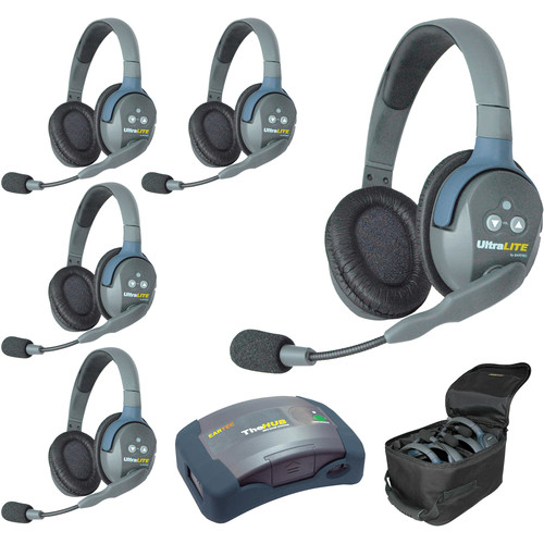Eartec Ultralite  Hub 5 Person System with 5 Double Headsets, Batteries, Charger & Case