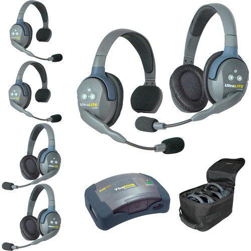 Eartec Ultralite  Hub 6 Person System with 3 Single, 3 Double Headsets, Batteries, Charger & Case