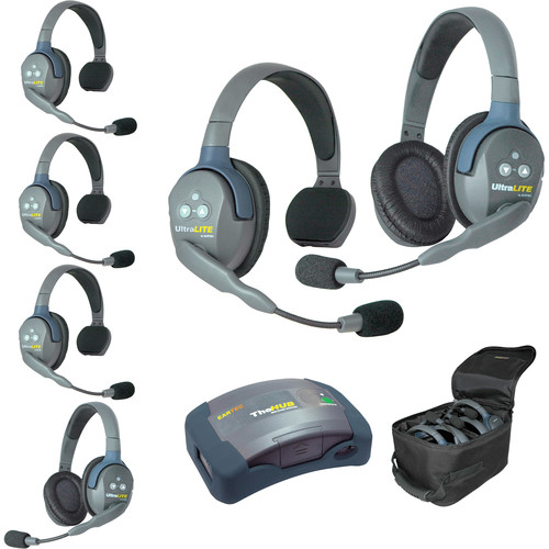 Eartec Ultralite  Hub 6 Person Systemwith 4 Single, 2 Double Headsets, Batteries, Charger & Case