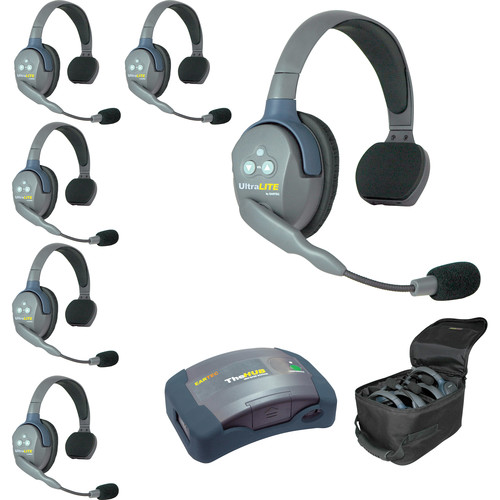 Eartec UltraLITE and HUB 6-Person System with 5 Single Headsets