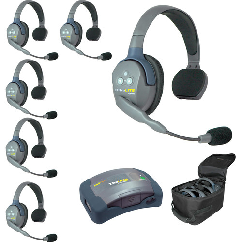 Eartec Ultralite  Hub 6 Person System with 6 Single Headsets, Batteries, Charger & Case