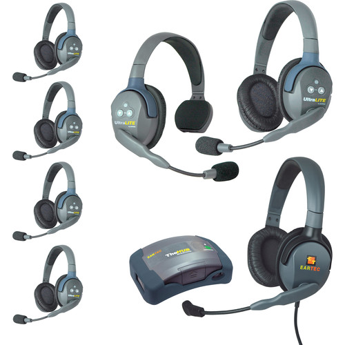 Eartec HUB715MXD UltraLITE 7-Person HUB Intercom System with Max 4G Double Headset (USA)