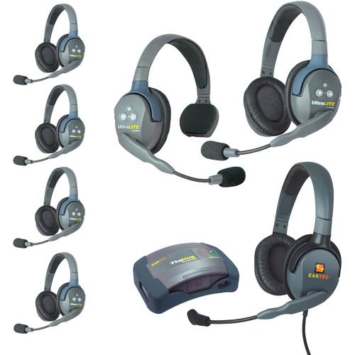 Eartec HUB715MXDEU UltraLITE 7-Person HUB Intercom System with Max 4G Double Headset (EU)
